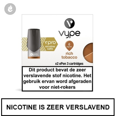 VYPE ePen 3 NIC SALT PODS Rich Tobacco 6mg Nicotine 2ml