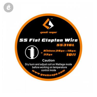 GeekVape SS Flat Clapton Wire (26GA x 18GA) + 32GA (10ft)