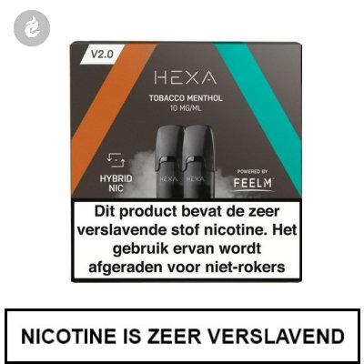HEXA 2.0 PODS Tobacco Menthol 10mg (2 stuks)