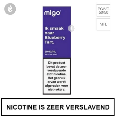 Migo Nic Salts Blueberry Tart 10mg Nicotine 10ml