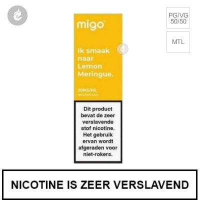Migo Nic Salts Lemon Meringue 10mg Nicotine 10ml