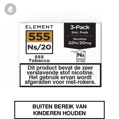Element Nic Salts Pods 555 Tobacco Ns/20mg 3x2ml
