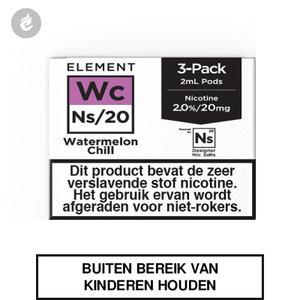 element nic salts pods ns 20mg 3x2ml watermelon chill