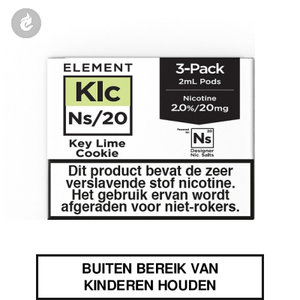 element nic salts pods ns 20mg 3x2ml key lime cookie