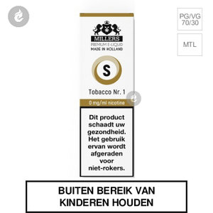 millers e-liquid silverline tobacco nr1 nicotinevrij