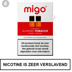 migo pods 1.3ml 2 stuks nic salt nicotinezout e-liquid 20mg nicotine almond tobacco.jpg