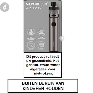 vaporesso gtx go 80 pod e-sigaret e-smoker starterkit 2ml 3000mah zilver